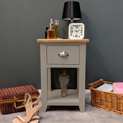 Grateley Painted Oak Bedside Lamp Table