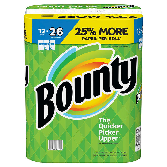 Bounty Paper Towels, White, 12 Huge Rolls = 26 Regular Rolls