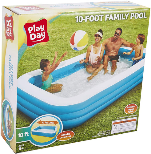 Play Day Large 10 Foot Pool - Great Family Fun - Comes with 1 Free Critter Blaster Sun Squad Tube Water Squirter