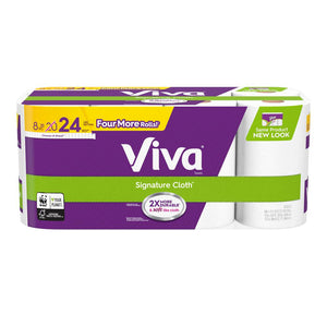Viva Paper Towels, Choose-A-Sheet, White, 8 Giant Rolls