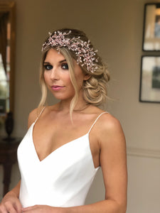 Birde wears Statement Wedding Hair Accessory Queen CoCo, a large band of Swarovski crystals and pearls