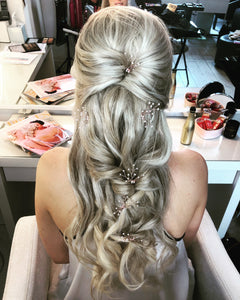 wedding hair pins - messy plait  - Gemma Sutton
