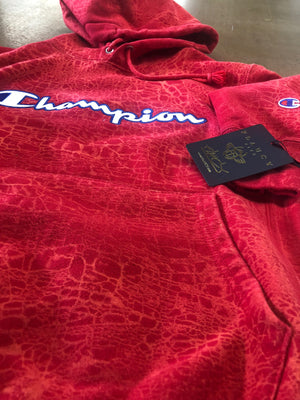Champion x Flaucy RED CRACK Hoodie