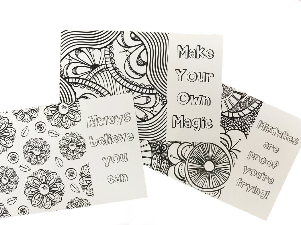 Affirmation Coloring Cards - The Teacher Trove
