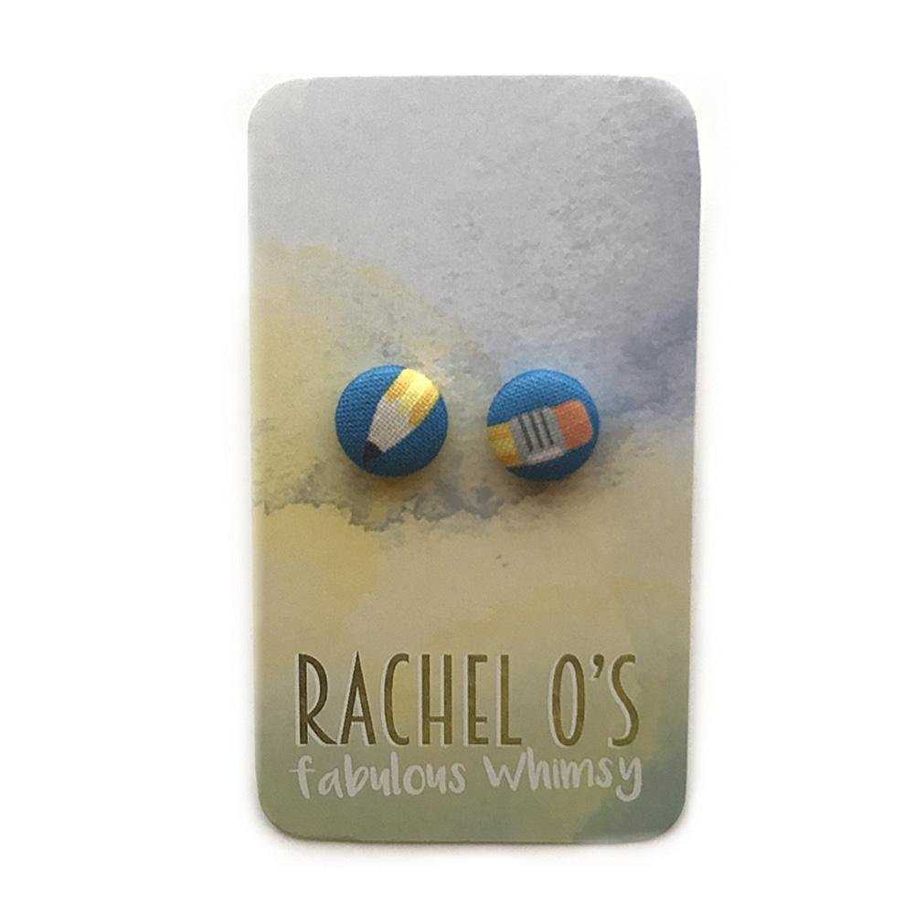 Pencil Fabric Earrings from Rachel O - The Teacher Trove