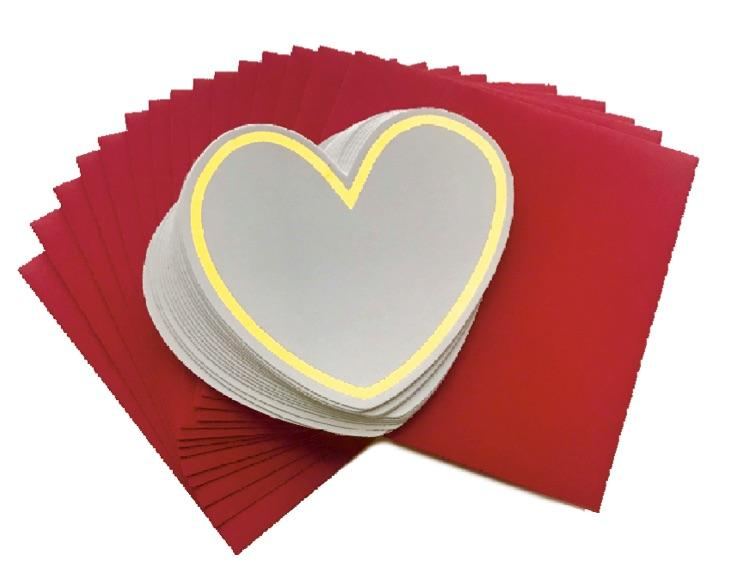 White Gold Trim Heart Note Cards with Red Envelopes (x10) - The Teacher Trove