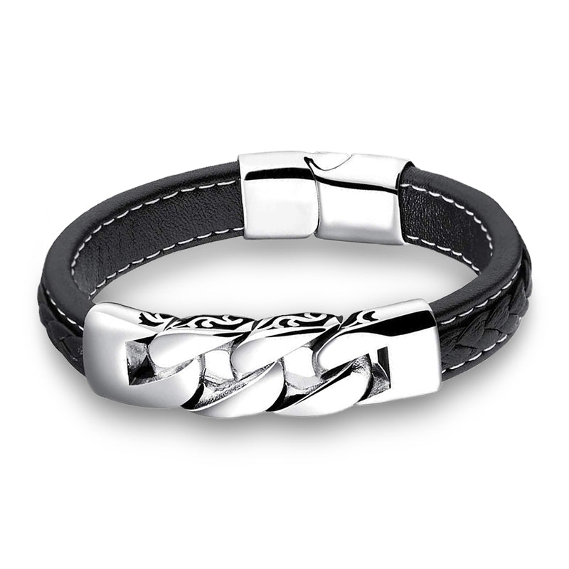 Chain Black Leather Bracelet