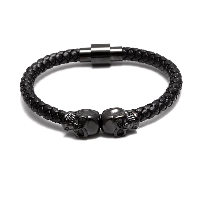 Black Joined Skulls Leather Bracelet