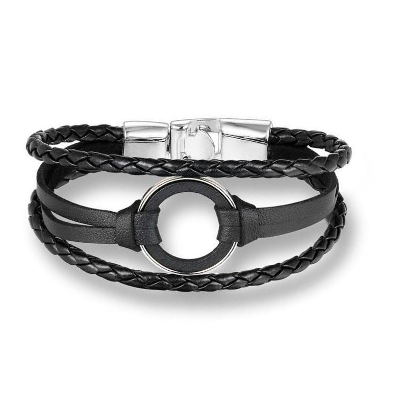 Round Trinket Silver Black Leather Bracelet