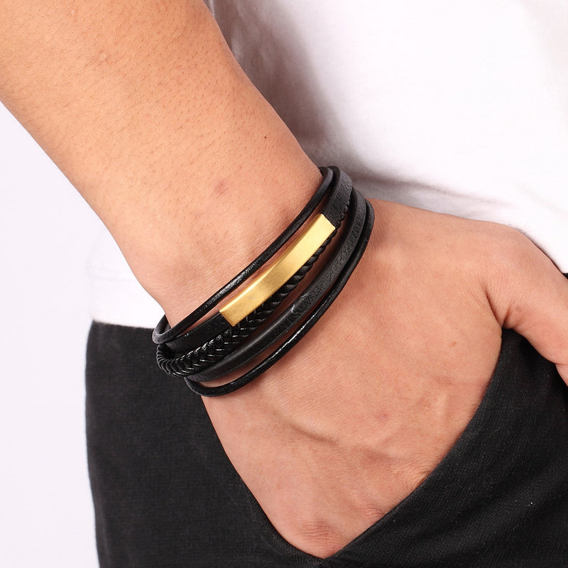 Gold Charm Multilayer Leather Bracelet