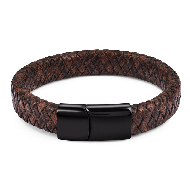Black Rustic Braided Leather Bracelet