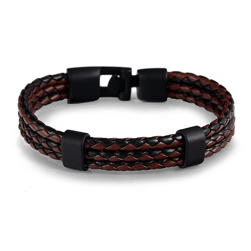 Black & Brown Triple Braided Leather Bracelet