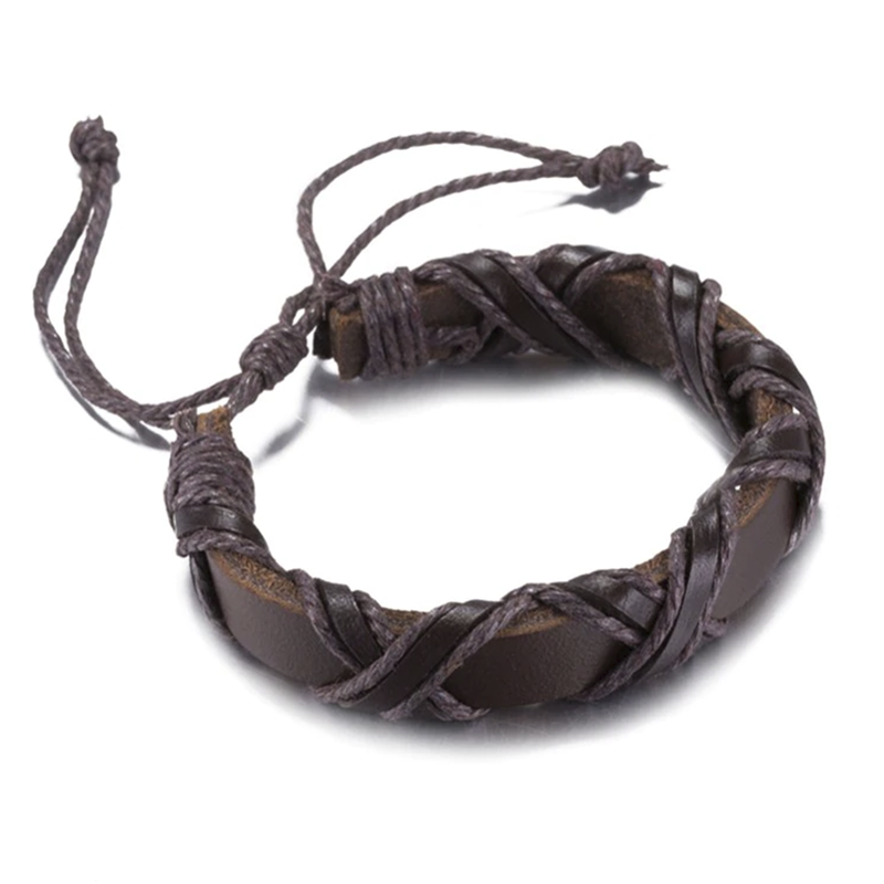 Brown Criss Cross Leather Bracelet