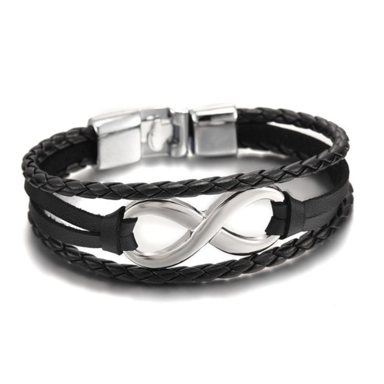 Infinite Black & Silver Leather Bracelet