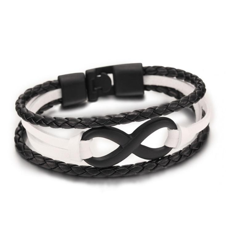 Infinite Black & White Leather Bracelet