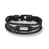 Triple Black Rectangle Leather Bracelet