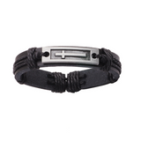 Black Long Cross Leather Bracelet