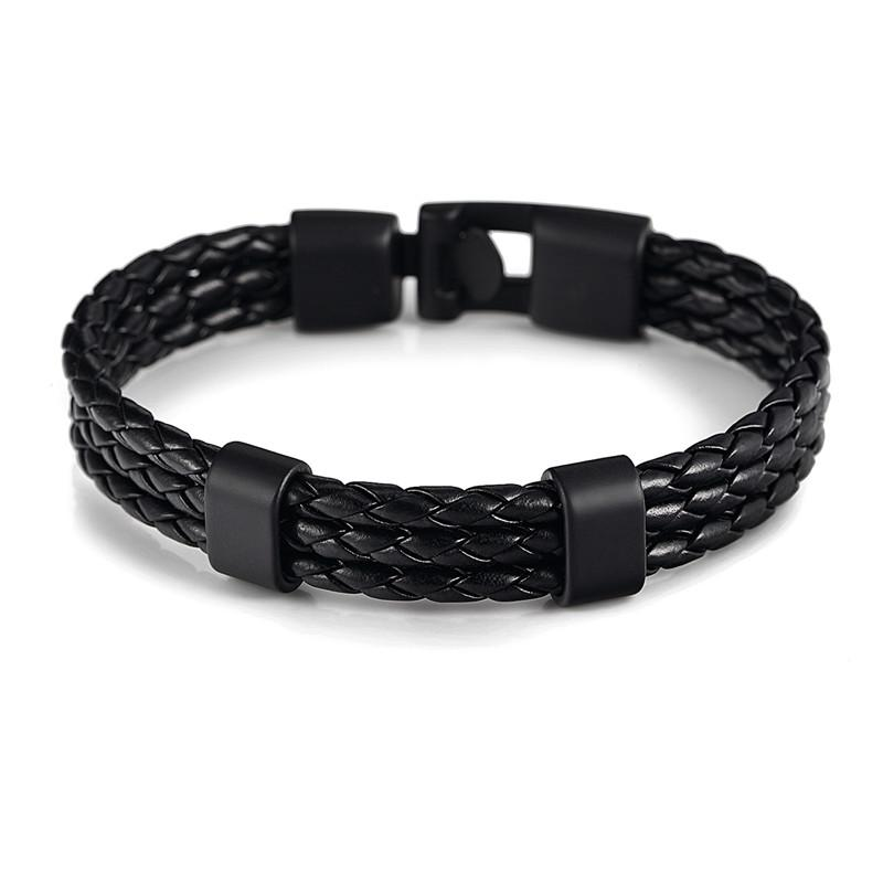 Black Triple Braided Leather Bracelet