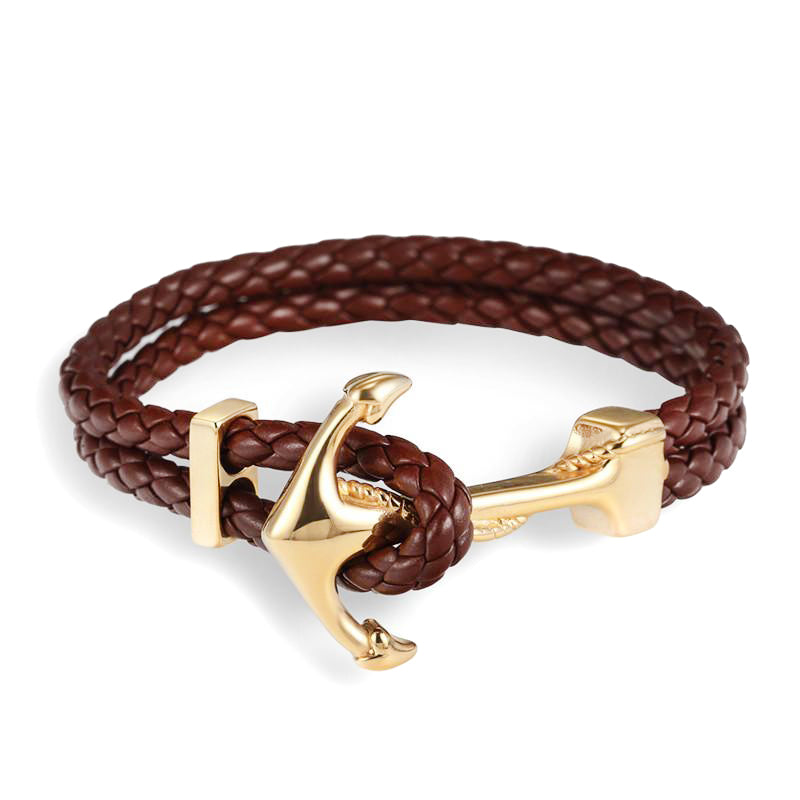 Brown & Gold Anchor Leather Bracelet
