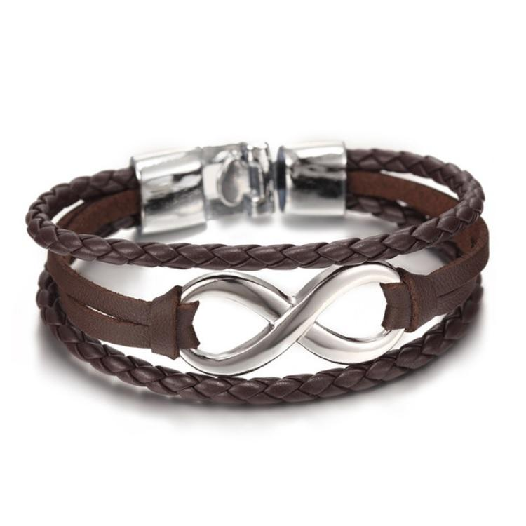 Infinite Brown & Silver Leather Bracelet
