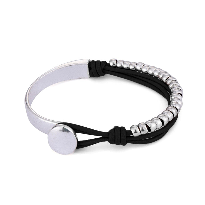 Silver Moiety Black Leather Bracelet