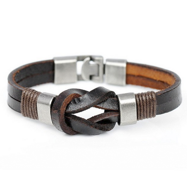 Brown Twisted Knot Leather Bracelet