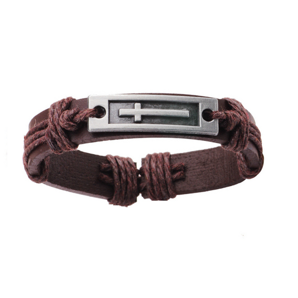 Brown Long Cross Leather Bracelet
