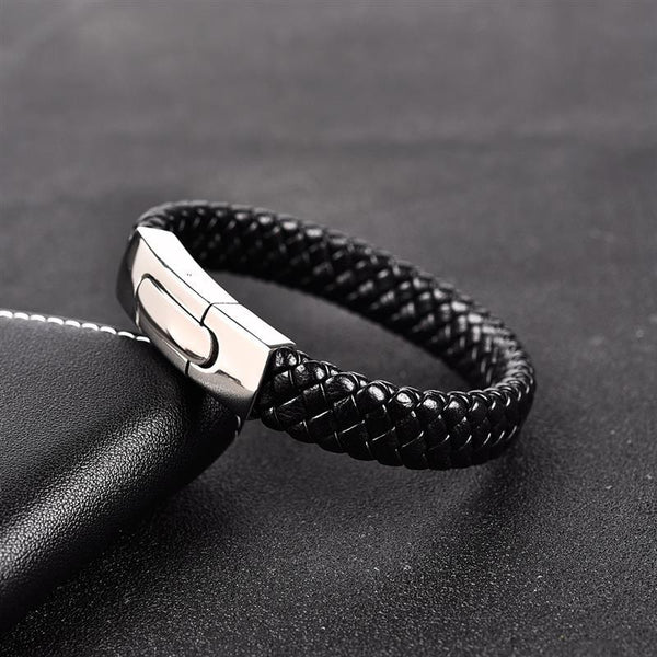 Silver Stacked Leather Bracelet