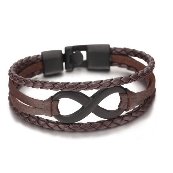 Infinite Brown & Black Leather Bracelet