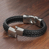 Black & Silver Aztec Leather Bracelet