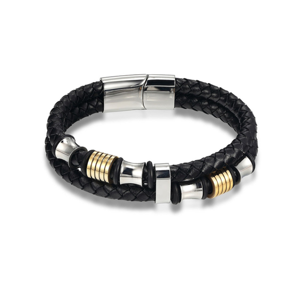 Gold Incise Leather Bracelet