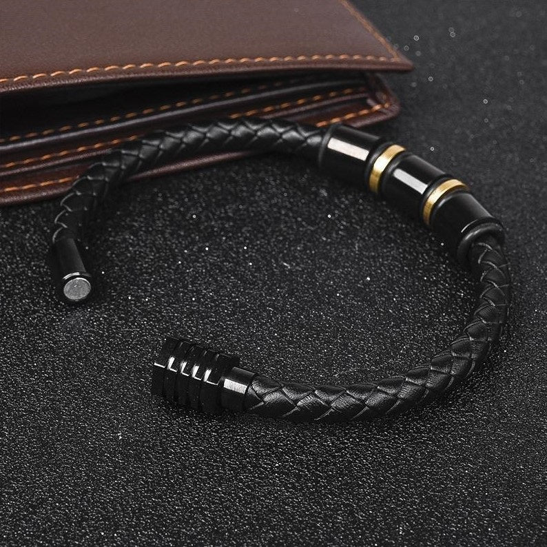 Black & Gold Loops Leather Bracelet
