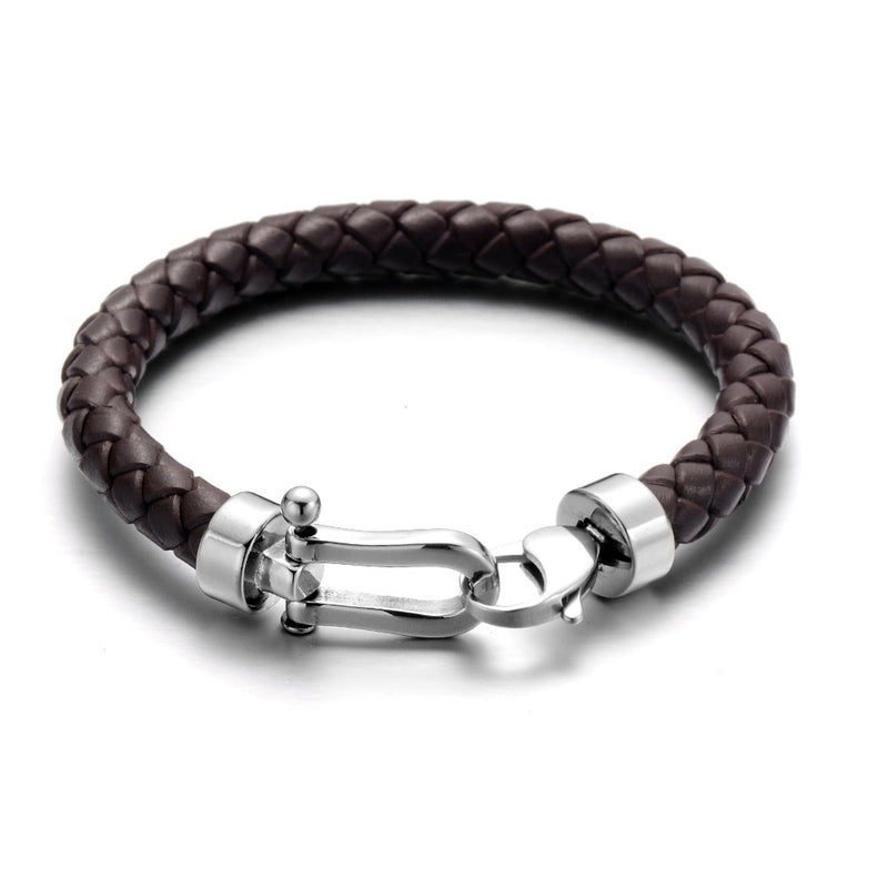 Brown Horseshoe Braided Leather Bracelet