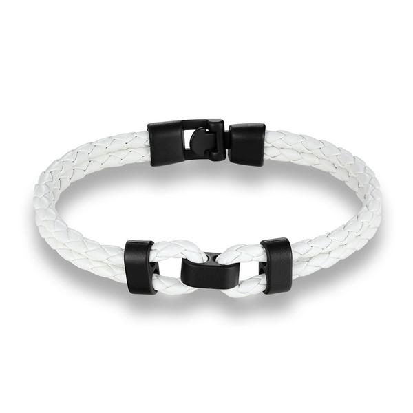 White Black Middle Charm Leather Bracelet