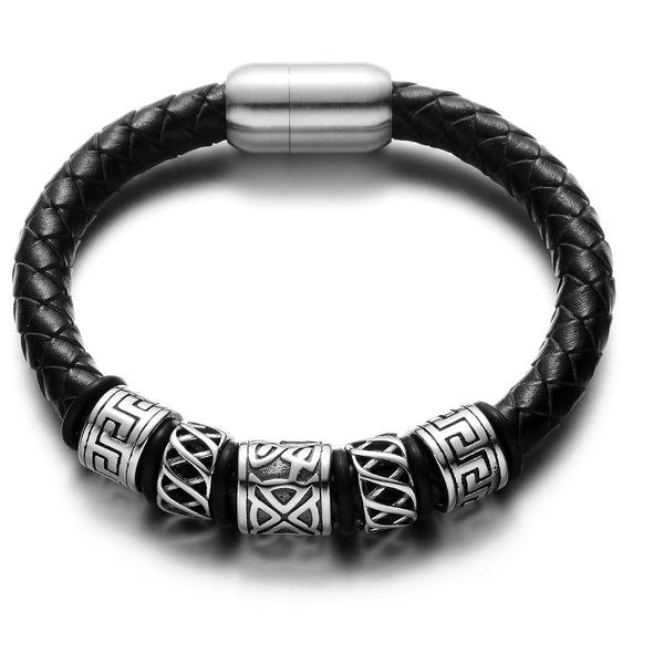 Viking Beads Black Leather Bracelet