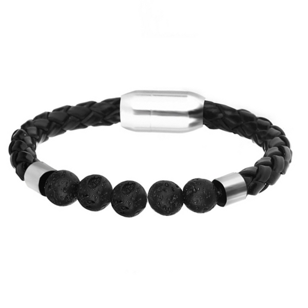 Silver Lava Beads Braided Leather Bracelet