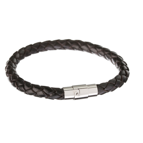 Black Square Braid Leather Bracelet
