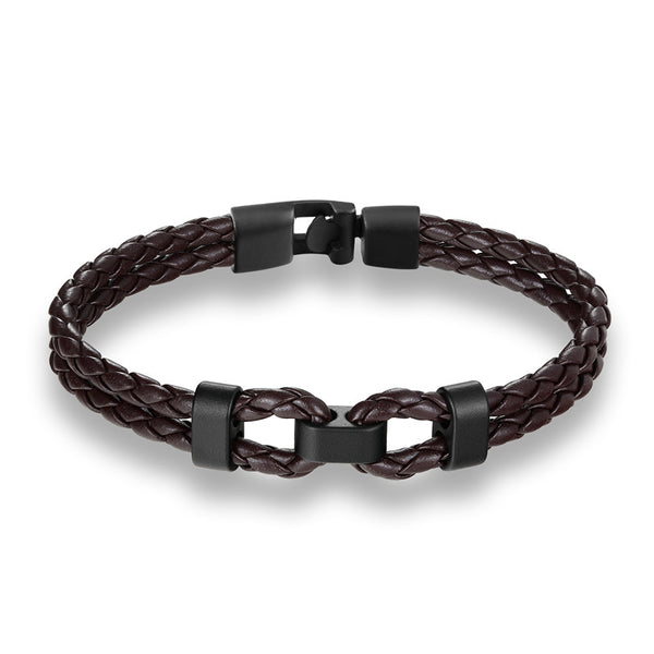 Brown Black Middle Charm Leather Bracelet
