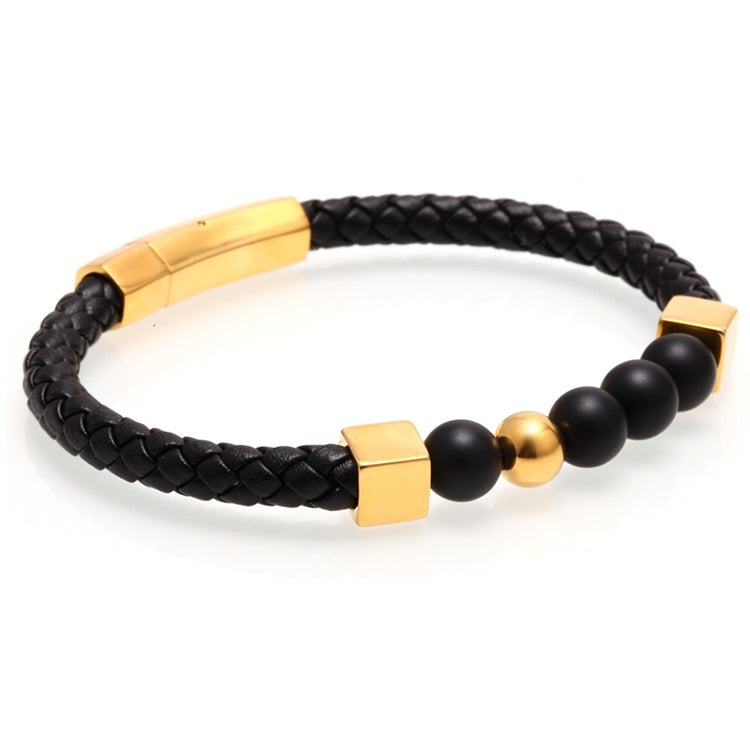Gold Alignment Leather Bracelet