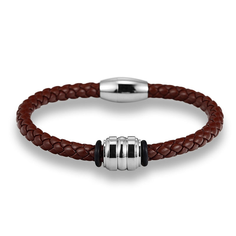Silver Steel Brown Braid Leather Bracelet