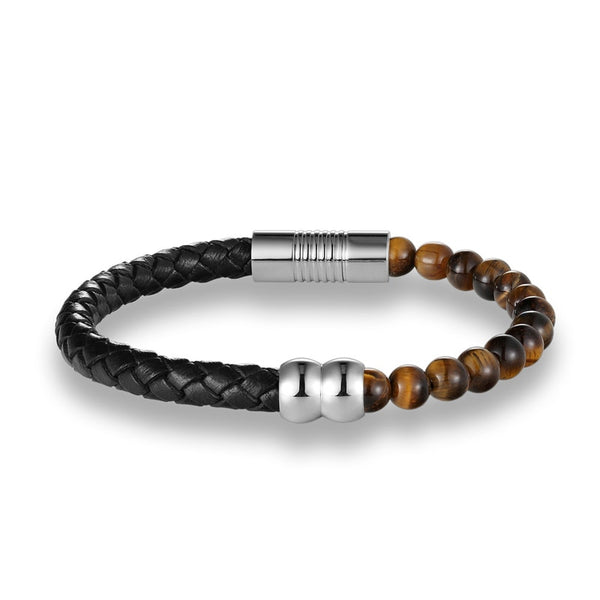 Tiger Eye Half Braid Leather Bracelet