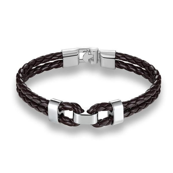 Brown Silver Middle Charm Leather Bracelet