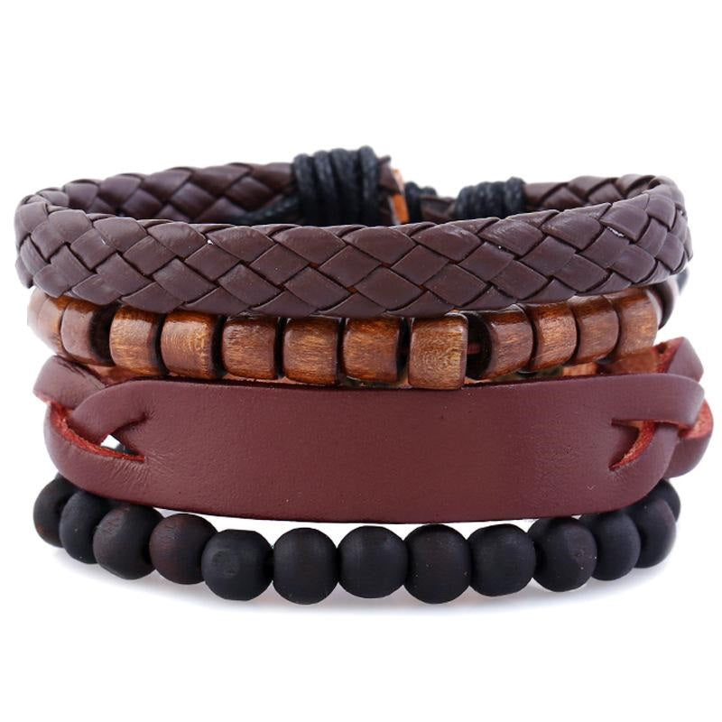 Beads and Braids Leather Bracelet Set