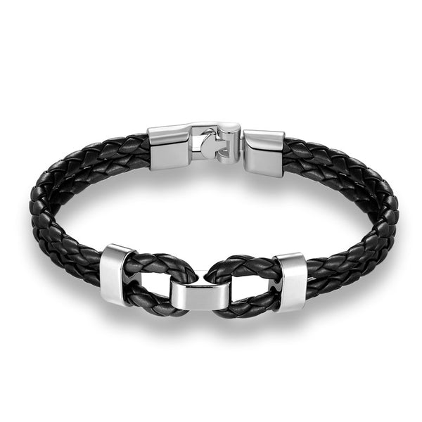 Black Silver Middle Charm Leather Bracelet