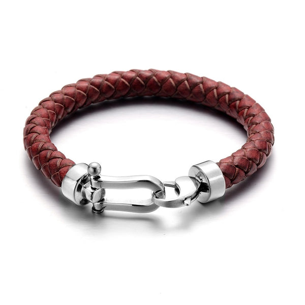 Red Horseshoe Braided Leather Bracelet