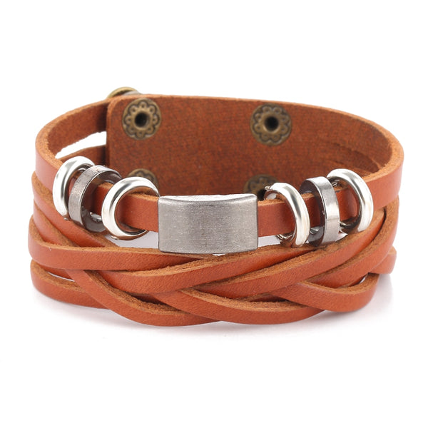 Brown Two Layer Leather Bracelet