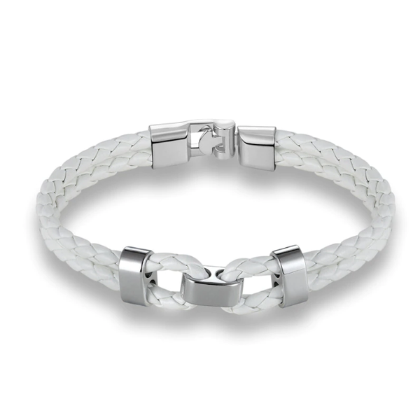 White Silver Middle Charm Leather Bracelet