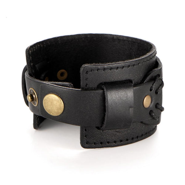 Black Two Straps Wide Leather Bracelet
