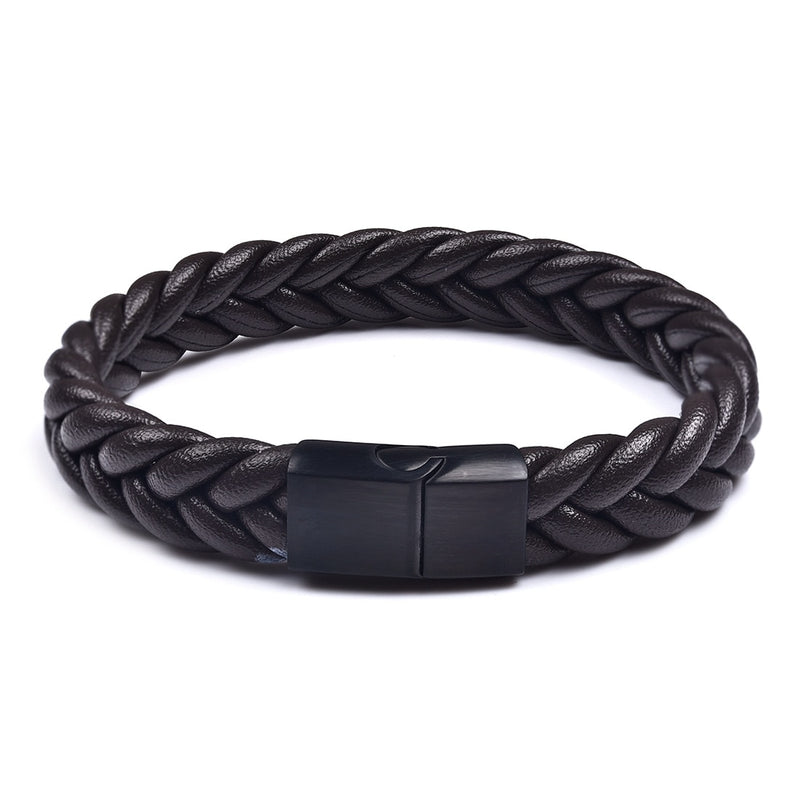 Black Brown Three Strands Braided Leather Bracelet