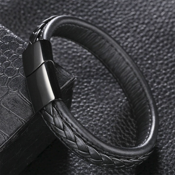 Black Complect Leather Bracelet
